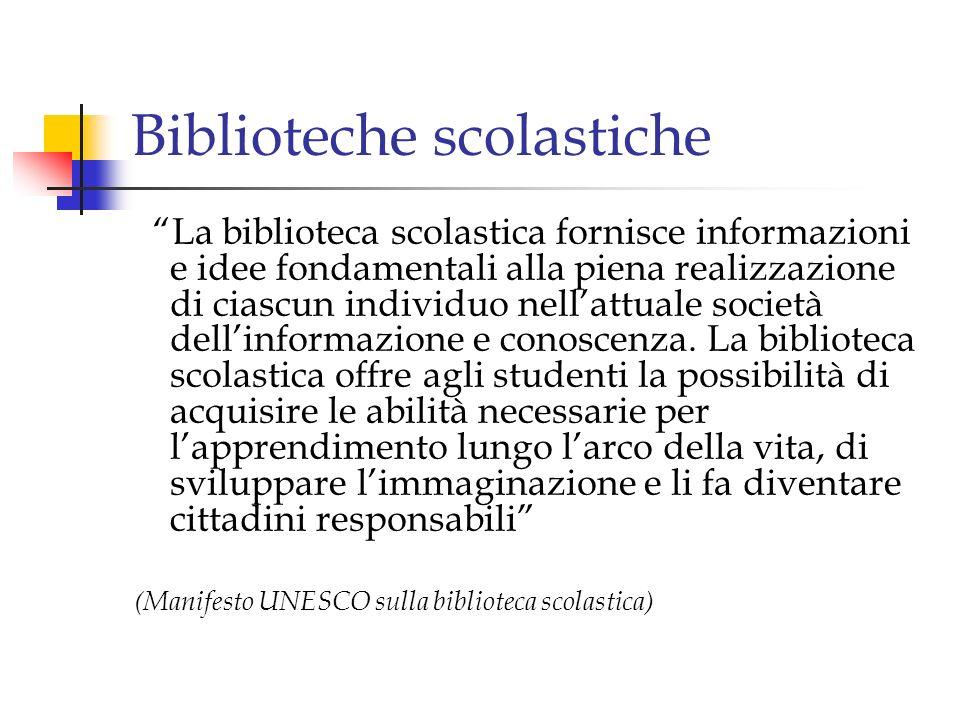 Biblioteche speciali Sono destinate a categorie dutenti particolari Sono in genere allinterno di enti e di organismi, sia pubblici che privati.
