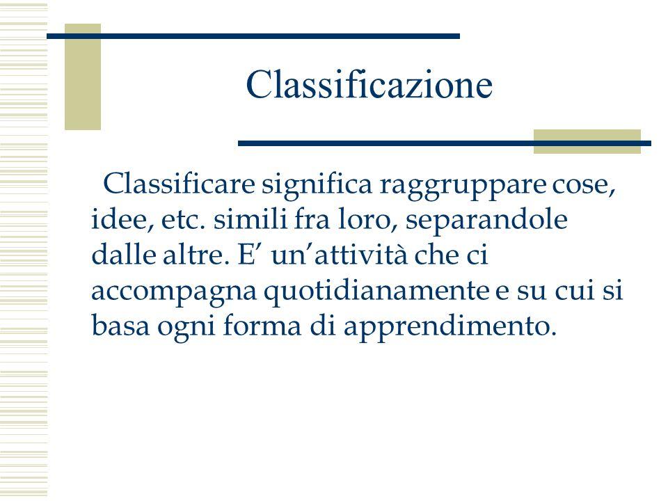 Classificazione Classificare significa raggruppare cose, idee, etc. simili fra loro, separandole dalle altre. E unattività che ci accompagna quotidian
