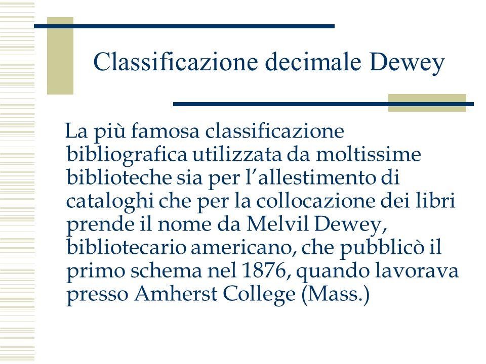 Classificazione decimale Dewey La più famosa classificazione bibliografica utilizzata da moltissime biblioteche sia per lallestimento di cataloghi che