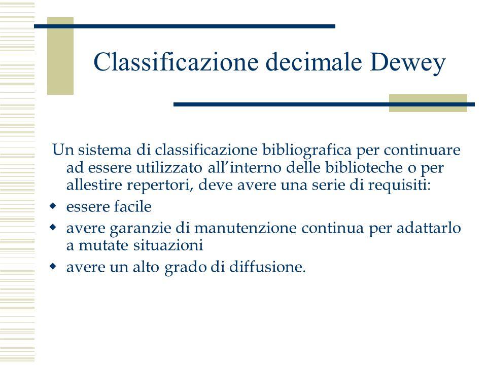 Classificazione decimale Dewey Un sistema di classificazione bibliografica per continuare ad essere utilizzato allinterno delle biblioteche o per alle