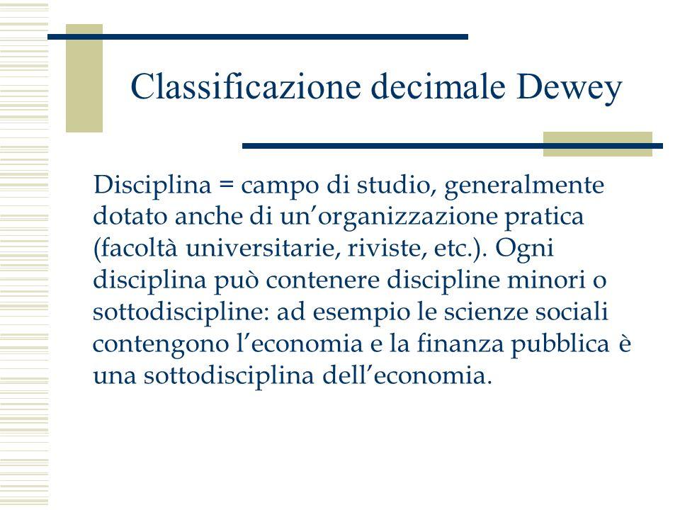 Classificazione decimale Dewey Disciplina = campo di studio, generalmente dotato anche di unorganizzazione pratica (facoltà universitarie, riviste, et