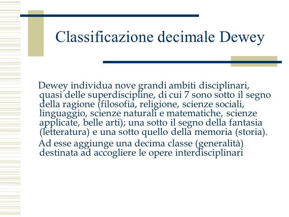 Classificazione decimale Dewey Dewey individua nove grandi ambiti disciplinari, quasi delle superdiscipline, di cui 7 sono sotto il segno della ragion