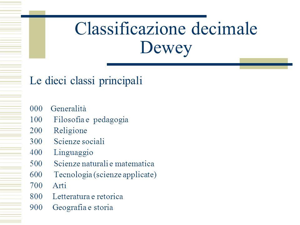 Classificazione decimale Dewey Le dieci classi principali 000 Generalità 100 Filosofia e pedagogia 200 Religione 300 Scienze sociali 400 Linguaggio 50