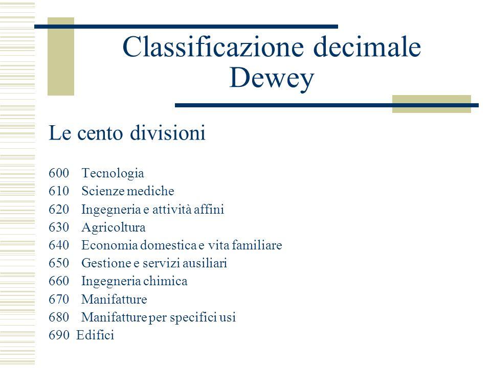 Classificazione decimale Dewey Le cento divisioni 600Tecnologia 610Scienze mediche 620Ingegneria e attività affini 630Agricoltura 640Economia domestic