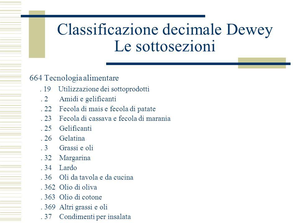 Classificazione decimale Dewey Le sottosezioni 664 Tecnologia alimentare. 19 Utilizzazione dei sottoprodotti. 2 Amidi e gelificanti. 22 Fecola di mais
