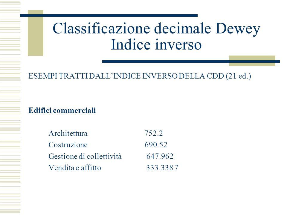 Classificazione decimale Dewey Indice inverso ESEMPI TRATTI DALLINDICE INVERSO DELLA CDD (21 ed.) Edifici commerciali Architettura 752.2 Costruzione 6