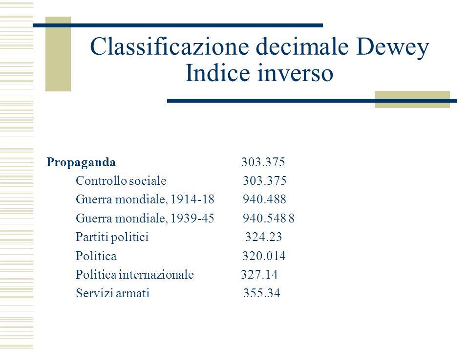 Classificazione decimale Dewey Indice inverso Propaganda 303.375 Controllo sociale 303.375 Guerra mondiale, 1914-18 940.488 Guerra mondiale, 1939-45 9