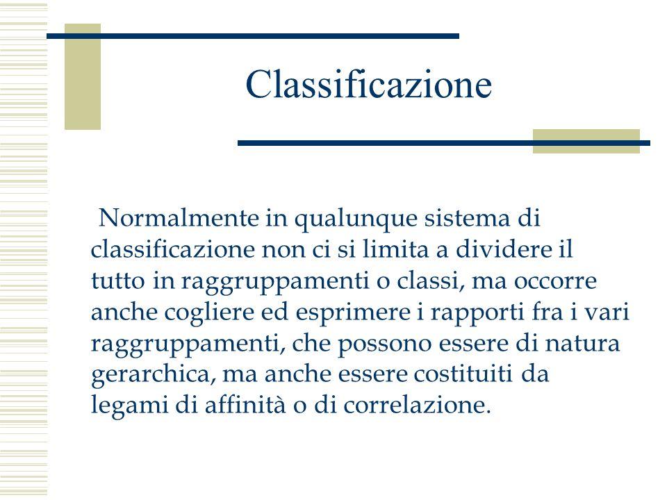 Classificazione Qualsiasi processo classificatorio deve seguire obbligatoriamente dei principi generali: Ciascun principio di divisione deve produrre almeno due classi, ma può produrne anche di più.