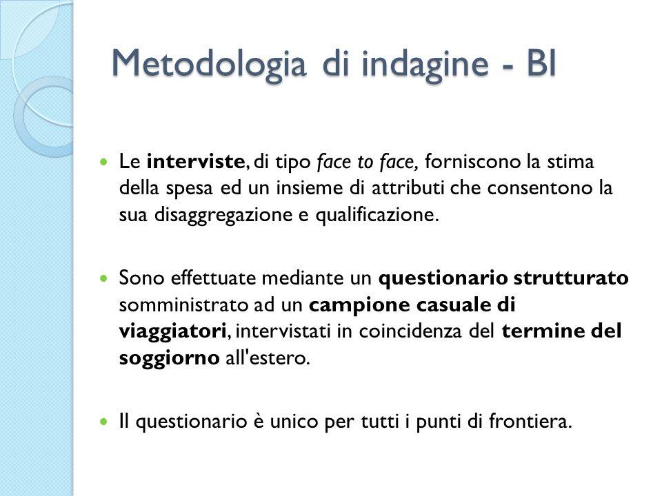 Metodologia di indagine - BI Le interviste, di tipo face to face, forniscono la stima della spesa ed un insieme di attributi che consentono la sua dis