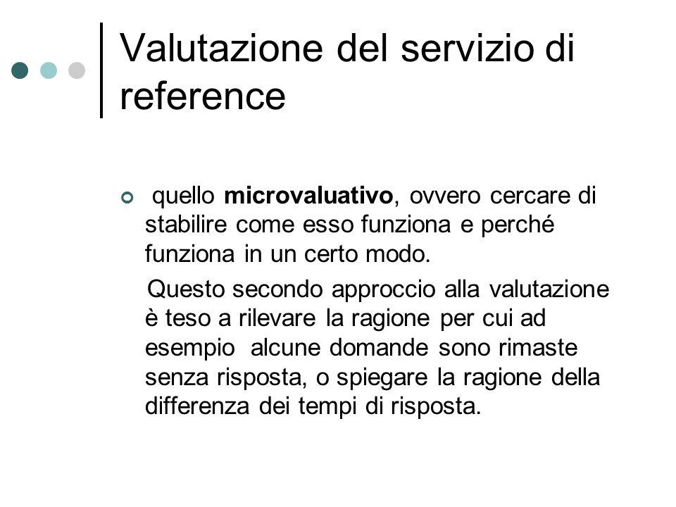 Valutazione del servizio di reference quello microvaluativo, ovvero cercare di stabilire come esso funziona e perché funziona in un certo modo.