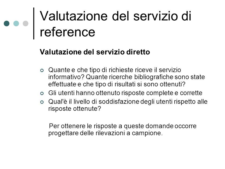 Valutazione del servizio di reference Valutazione del servizio diretto Quante e che tipo di richieste riceve il servizio informativo.