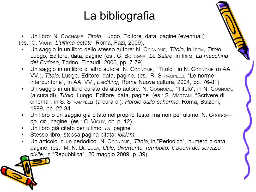 La bibliografia Un libro: N.C OGNOME, Titolo, Luogo, Editore, data, pagine (eventuali).