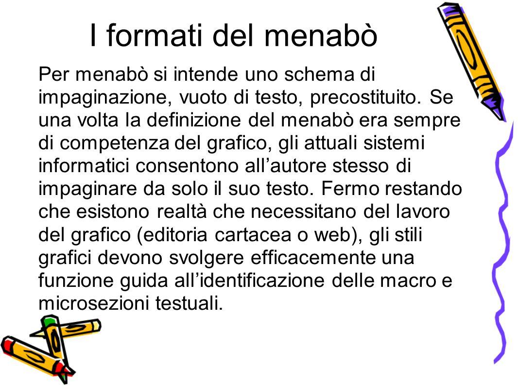 I formati del menabò Per menabò si intende uno schema di impaginazione, vuoto di testo, precostituito.