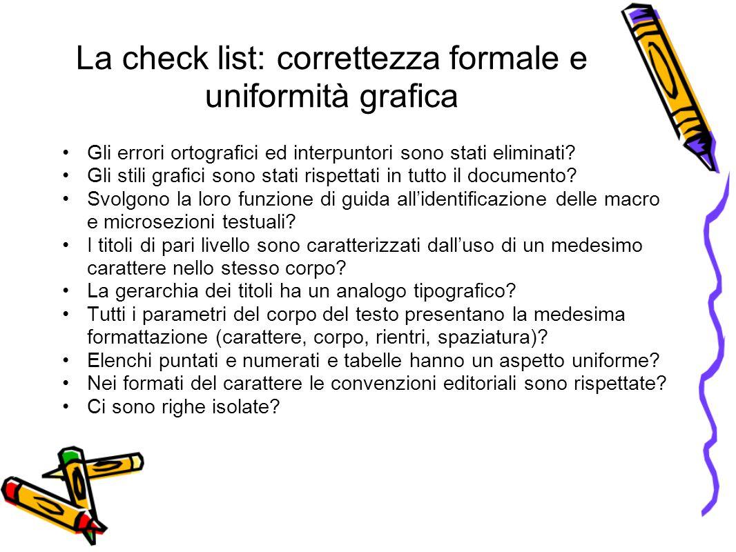 La check list: correttezza formale e uniformità grafica Gli errori ortografici ed interpuntori sono stati eliminati.