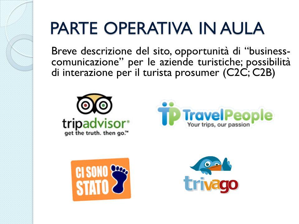 PARTE OPERATIVA IN AULA Breve descrizione del sito, opportunità di business- comunicazione per le aziende turistiche; possibilità di interazione per i