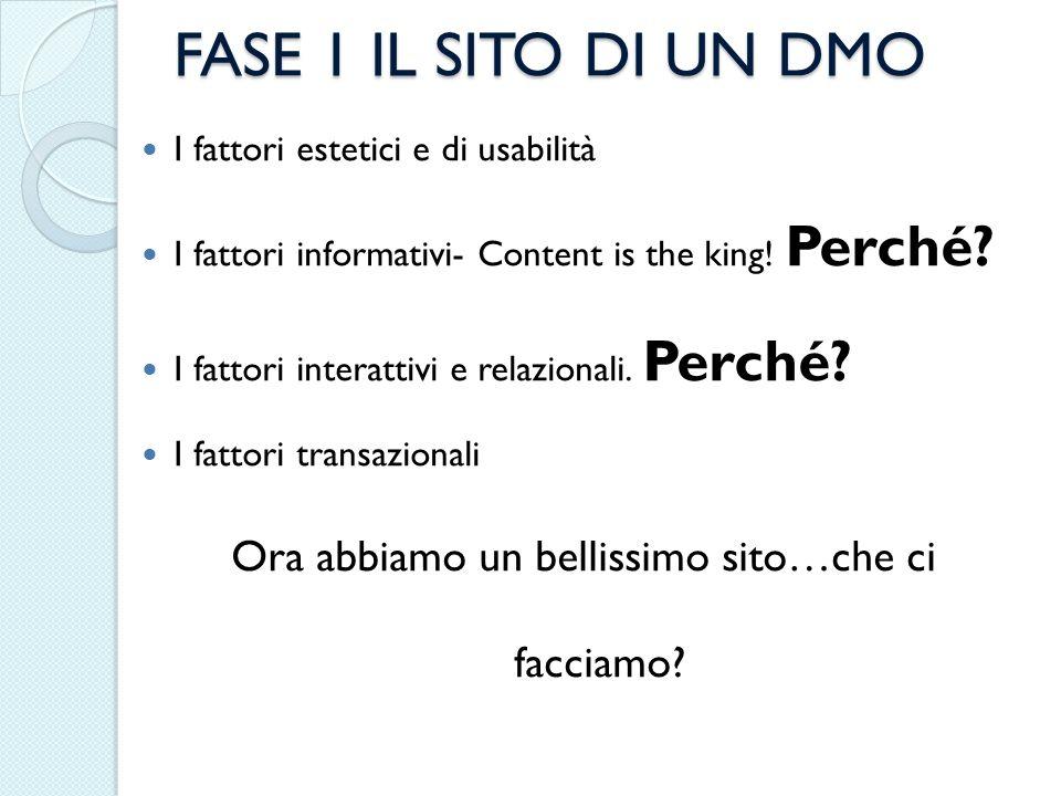 FASE 1 IL SITO DI UN DMO I fattori estetici e di usabilità I fattori informativi- Content is the king! Perché? I fattori interattivi e relazionali. Pe
