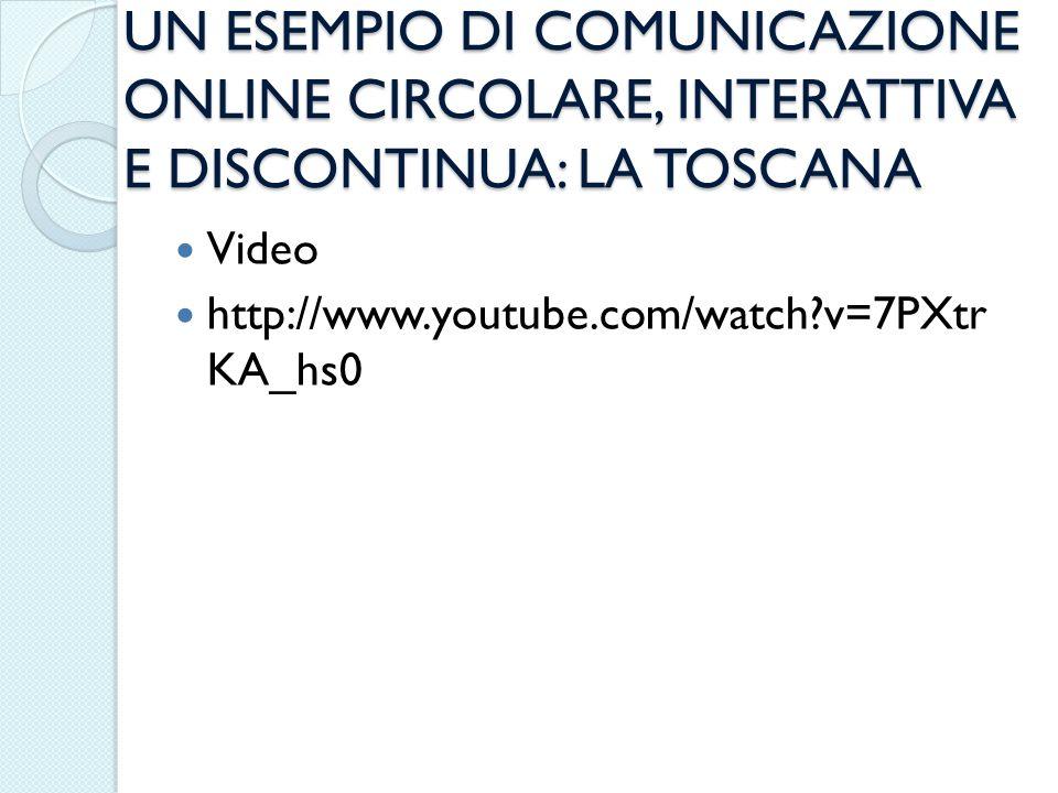 UN ESEMPIO DI COMUNICAZIONE ONLINE CIRCOLARE, INTERATTIVA E DISCONTINUA: LA TOSCANA Video http://www.youtube.com/watch?v=7PXtr KA_hs0