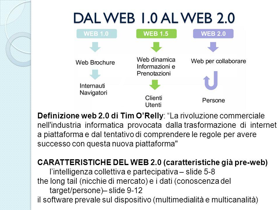 DAL WEB 1.0 AL WEB 2.0 Definizione web 2.0 di Tim ORelly: La rivoluzione commerciale nell'industria informatica provocata dalla trasformazione di inte