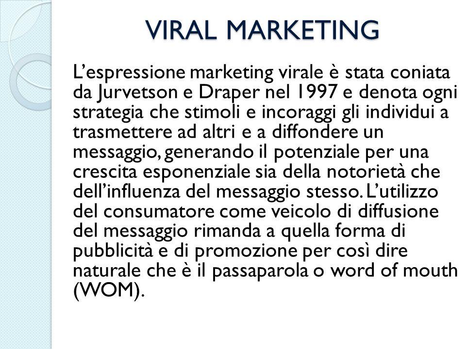 VIRAL MARKETING Lespressione marketing virale è stata coniata da Jurvetson e Draper nel 1997 e denota ogni strategia che stimoli e incoraggi gli indiv