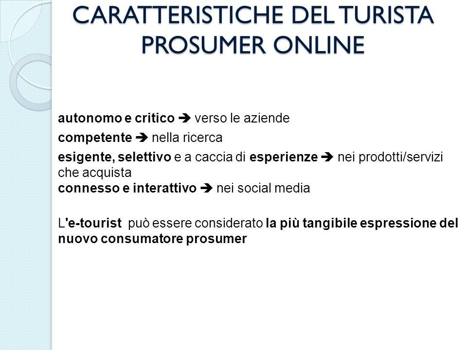 CARATTERISTICHE DEL TURISTA PROSUMER ONLINE autonomo e critico verso le aziende competente nella ricerca esigente, selettivo e a caccia di esperienze