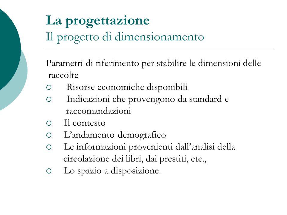 La progettazione Il progetto di dimensionamento Parametri di riferimento per stabilire le dimensioni delle raccolte Risorse economiche disponibili Ind