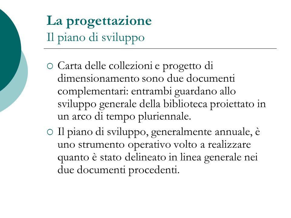 La progettazione Il piano di sviluppo Carta delle collezioni e progetto di dimensionamento sono due documenti complementari: entrambi guardano allo sv