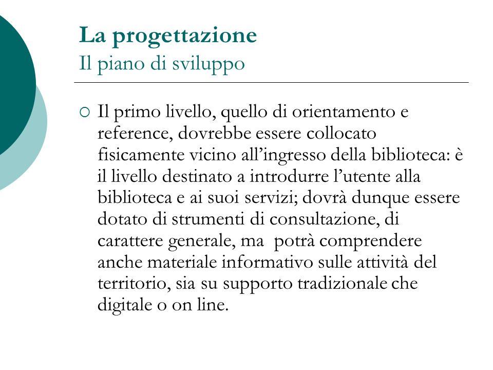 La progettazione Il piano di sviluppo Il primo livello, quello di orientamento e reference, dovrebbe essere collocato fisicamente vicino allingresso d