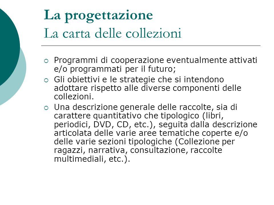 La progettazione La carta delle collezioni Programmi di cooperazione eventualmente attivati e/o programmati per il futuro; Gli obiettivi e le strategi