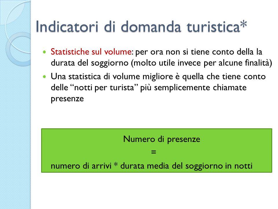 Indicatori di domanda turistica* Statistiche sul volume: per ora non si tiene conto della la durata del soggiorno (molto utile invece per alcune final