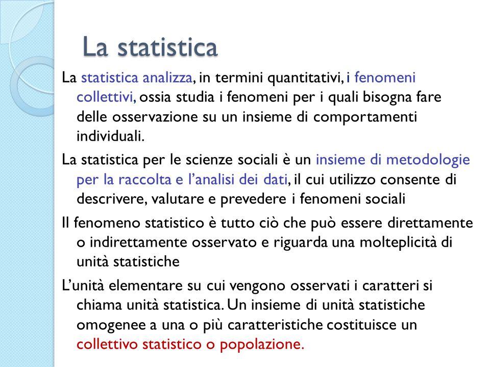 La statistica La statistica analizza, in termini quantitativi, i fenomeni collettivi, ossia studia i fenomeni per i quali bisogna fare delle osservazi