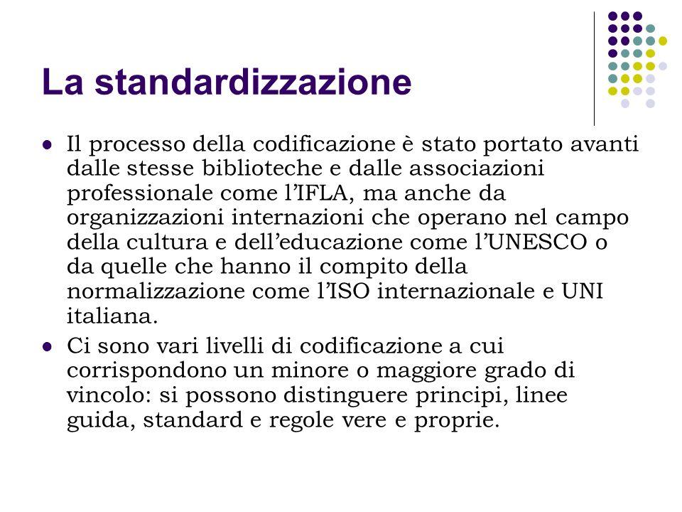 La standardizzazione Il processo della codificazione è stato portato avanti dalle stesse biblioteche e dalle associazioni professionale come lIFLA, ma