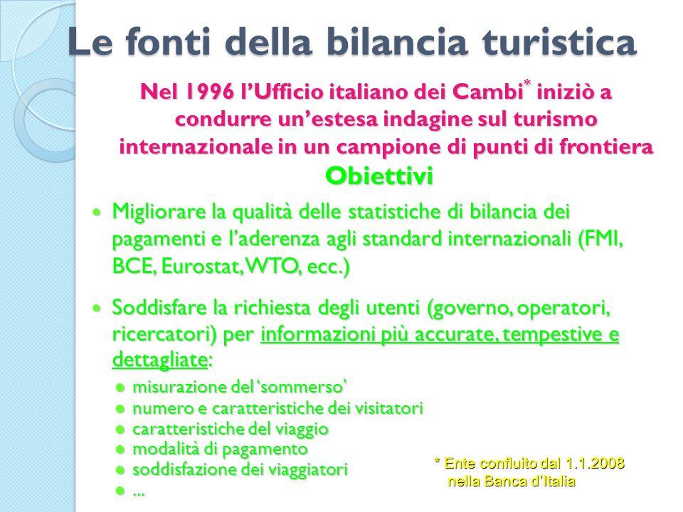 Le fonti della bilancia turistica Nel 1996 lUfficio italiano dei Cambi * iniziò a condurre unestesa indagine sul turismo internazionale in un campione