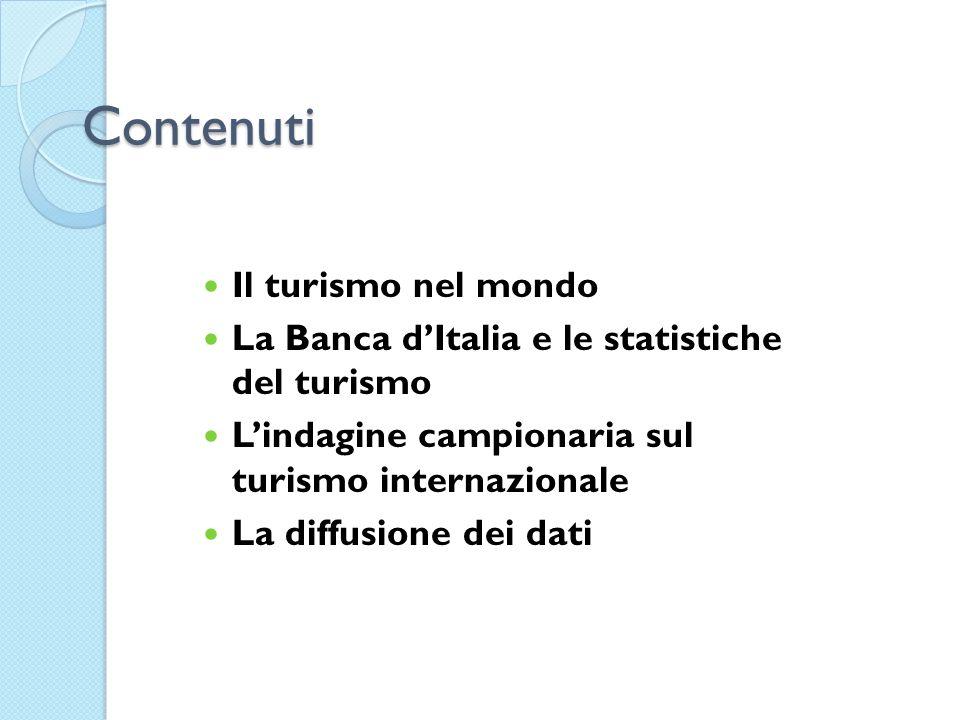 Contenuti Il turismo nel mondo La Banca dItalia e le statistiche del turismo Lindagine campionaria sul turismo internazionale La diffusione dei dati