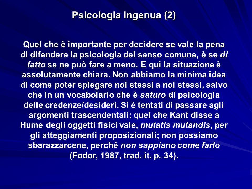 Psicologia ingenua (2) Quel che è importante per decidere se vale la pena di difendere la psicologia del senso comune, è se di fatto se ne può fare a