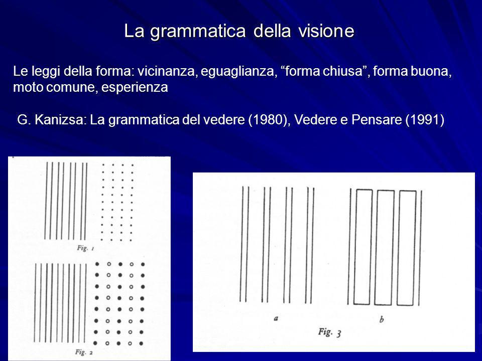 La grammatica della visione Le leggi della forma: vicinanza, eguaglianza, forma chiusa, forma buona, moto comune, esperienza G. Kanizsa: La grammatica