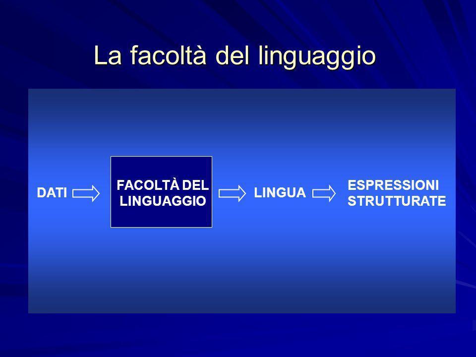 La facoltà del linguaggio DATI FACOLTÀ DEL LINGUAGGIO LINGUA ESPRESSIONI STRUTTURATE
