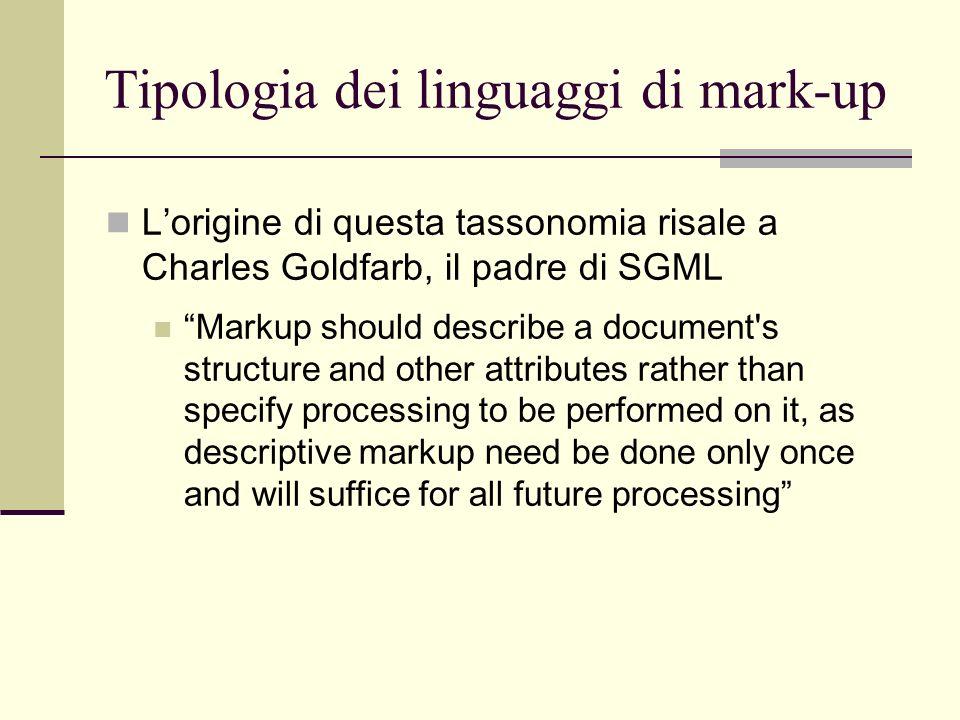 Tipologia dei linguaggi di mark-up Lorigine di questa tassonomia risale a Charles Goldfarb, il padre di SGML Markup should describe a document's struc