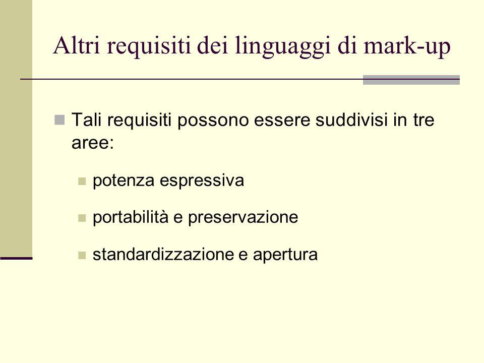 Altri requisiti dei linguaggi di mark-up Tali requisiti possono essere suddivisi in tre aree: potenza espressiva portabilità e preservazione standardizzazione e apertura