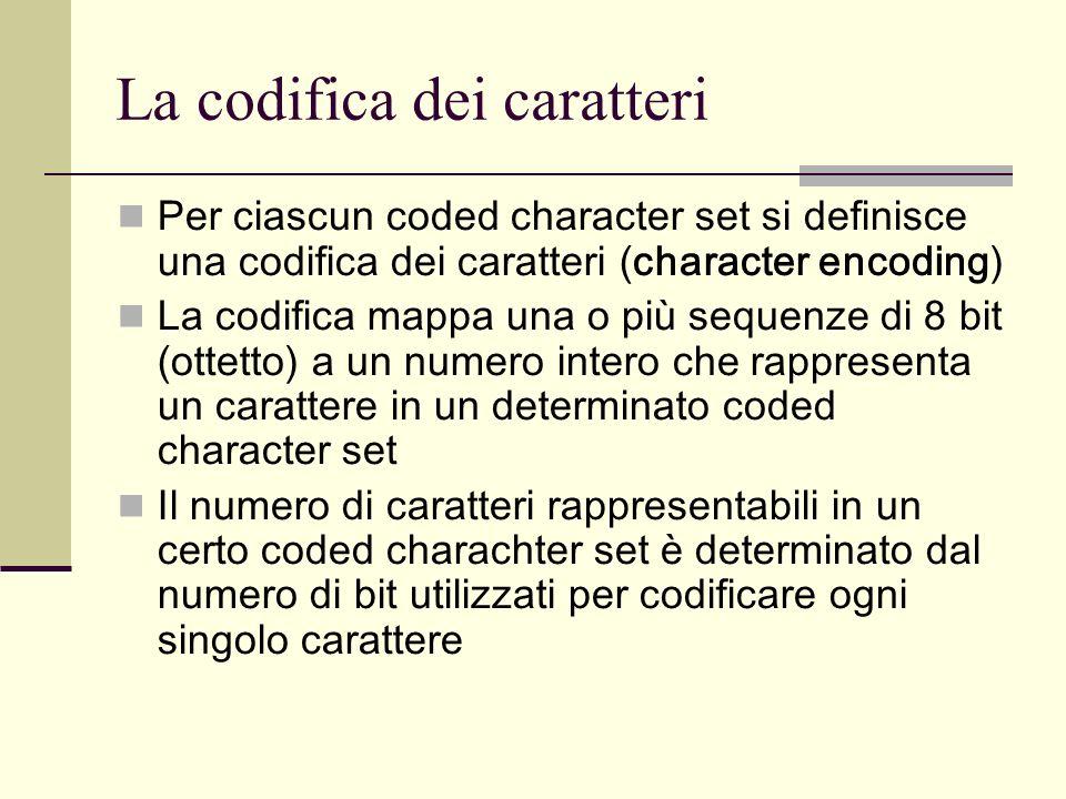 La codifica dei caratteri Per ciascun coded character set si definisce una codifica dei caratteri (character encoding) La codifica mappa una o più sequenze di 8 bit (ottetto) a un numero intero che rappresenta un carattere in un determinato coded character set Il numero di caratteri rappresentabili in un certo coded charachter set è determinato dal numero di bit utilizzati per codificare ogni singolo carattere