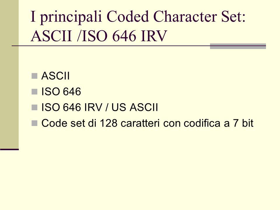 I principali Coded Character Set: ISO 8859 ISO 8859 famiglia di 14 code set di 256 caratteri ciascuna con codifica a 8 bit Tutti includono ISO 646 IRV nei primi 128 caratteri e variano sui secondi 128 Il più utilizzato è lISO 8859-1 (o ISO Latin 1) che coincide con la tavola di caratteri di Microsoft Windows (ANSI) ed è lo standard più diffuso sul Web