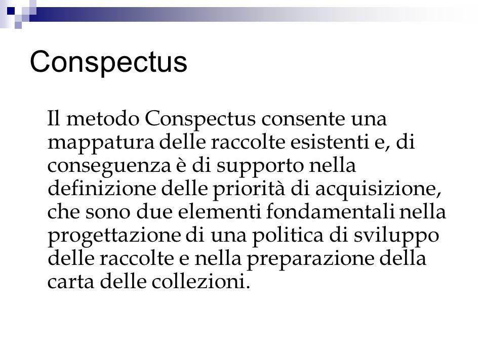 Conspectus Il metodo Conspectus consente una mappatura delle raccolte esistenti e, di conseguenza è di supporto nella definizione delle priorità di acquisizione, che sono due elementi fondamentali nella progettazione di una politica di sviluppo delle raccolte e nella preparazione della carta delle collezioni.