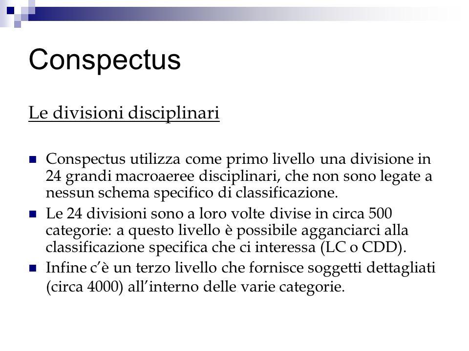 Conspectus Le divisioni disciplinari Conspectus utilizza come primo livello una divisione in 24 grandi macroaeree disciplinari, che non sono legate a nessun schema specifico di classificazione.