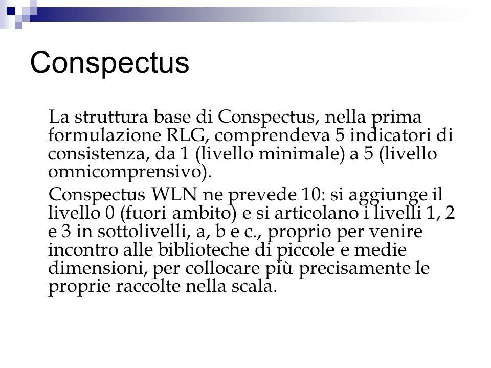 Conspectus La struttura base di Conspectus, nella prima formulazione RLG, comprendeva 5 indicatori di consistenza, da 1 (livello minimale) a 5 (livello omnicomprensivo).