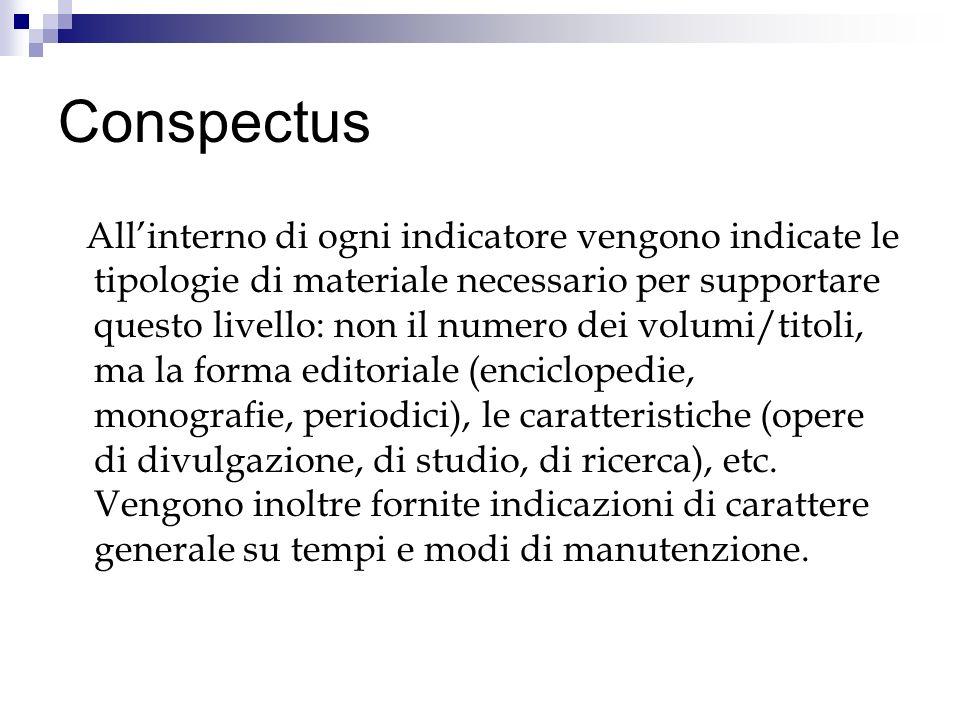 Conspectus Allinterno di ogni indicatore vengono indicate le tipologie di materiale necessario per supportare questo livello: non il numero dei volumi