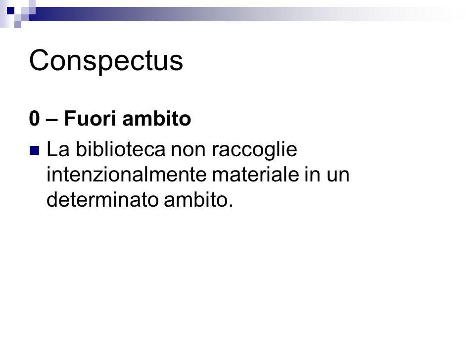 Conspectus 0 – Fuori ambito La biblioteca non raccoglie intenzionalmente materiale in un determinato ambito.