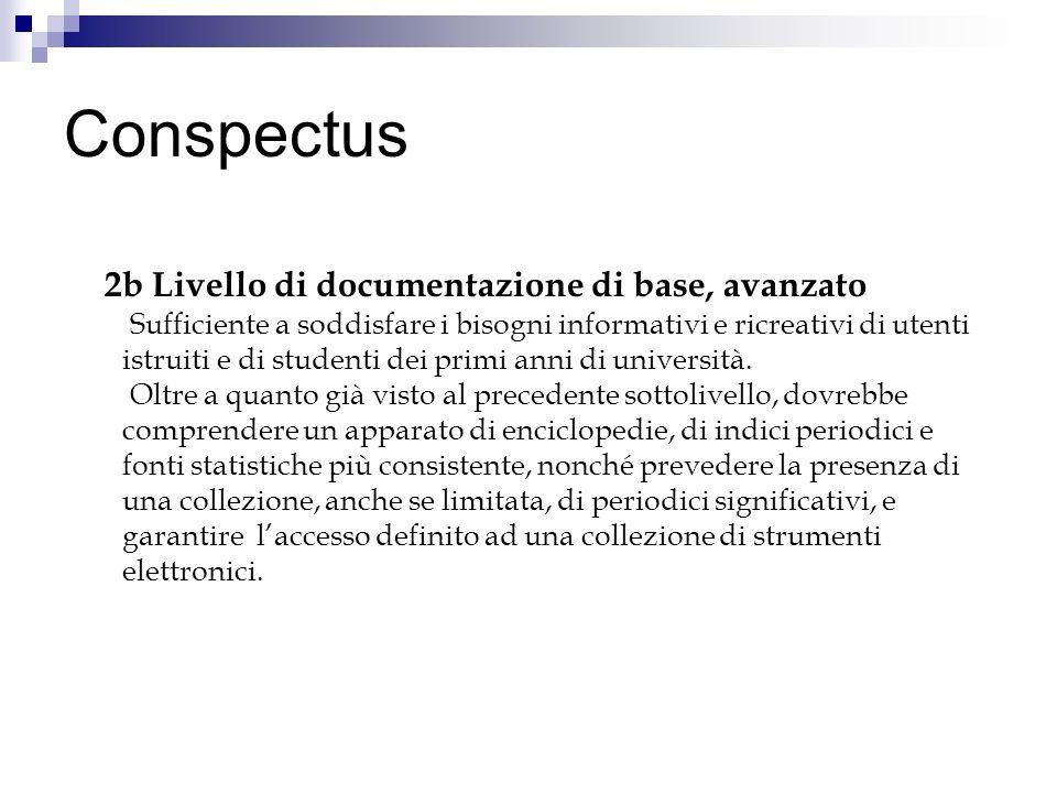 Conspectus 2b Livello di documentazione di base, avanzato Sufficiente a soddisfare i bisogni informativi e ricreativi di utenti istruiti e di studenti dei primi anni di università.