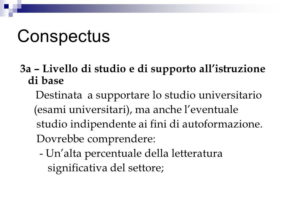 Conspectus 3a – Livello di studio e di supporto allistruzione di base Destinata a supportare lo studio universitario (esami universitari), ma anche leventuale studio indipendente ai fini di autoformazione.