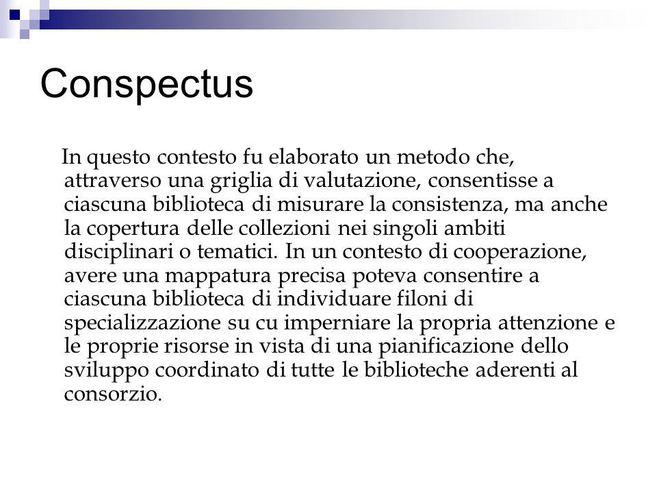 Conspectus In questo contesto fu elaborato un metodo che, attraverso una griglia di valutazione, consentisse a ciascuna biblioteca di misurare la consistenza, ma anche la copertura delle collezioni nei singoli ambiti disciplinari o tematici.