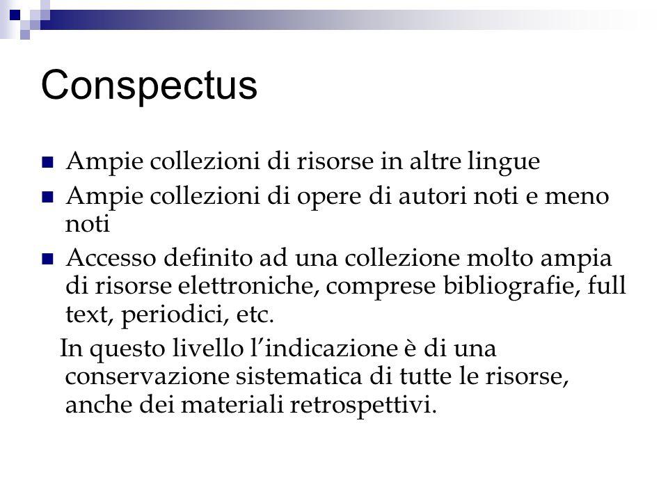 Conspectus Ampie collezioni di risorse in altre lingue Ampie collezioni di opere di autori noti e meno noti Accesso definito ad una collezione molto ampia di risorse elettroniche, comprese bibliografie, full text, periodici, etc.