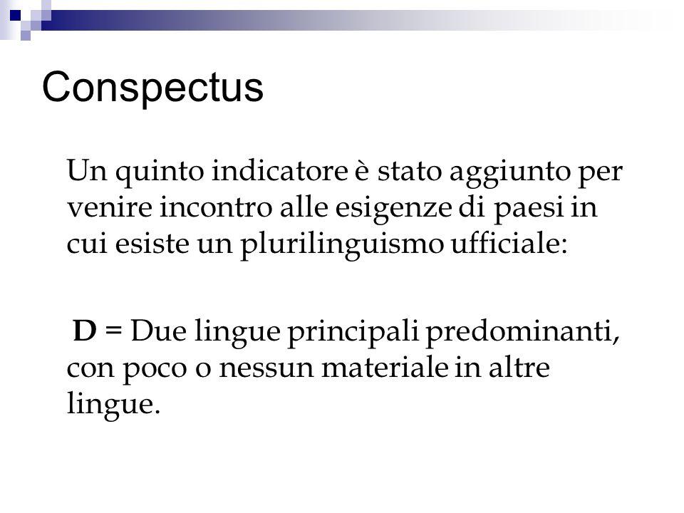 Conspectus Un quinto indicatore è stato aggiunto per venire incontro alle esigenze di paesi in cui esiste un plurilinguismo ufficiale: D = Due lingue principali predominanti, con poco o nessun materiale in altre lingue.